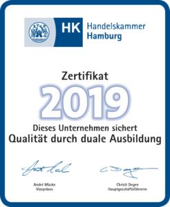 Zertifikat 2019 der Handelskammer Hamburg